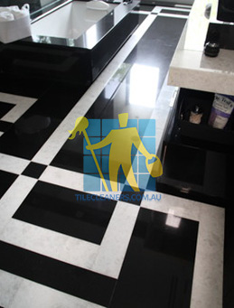 absolute black granite slab floor with white quartzite bands Tranmere