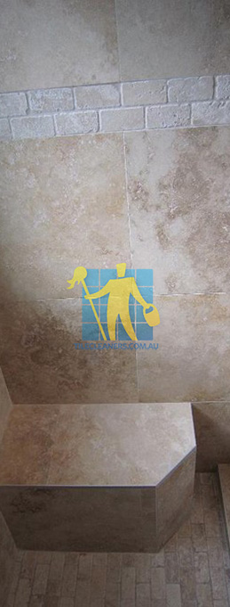 travertine tiles floor wall bathroom natural stone shower with seat Brighton